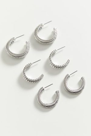 Urban Outfitters Statement Textured Hoop Earring Set