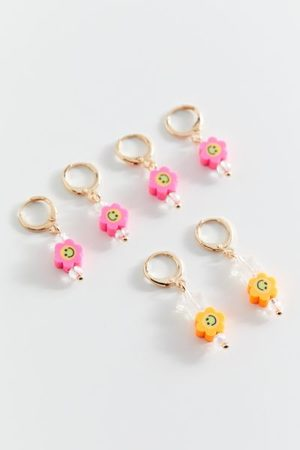 Urban Outfitters Maisie Beaded Charm Hoop Earring Set