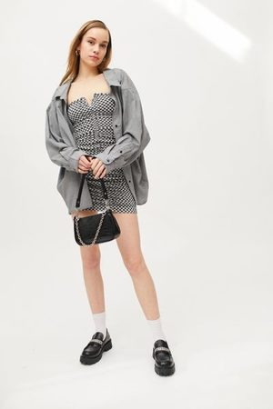 Urban Outfitters UO Carmen Checkered Bodycon Mini Dress