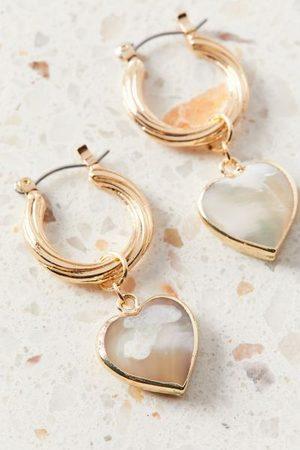 Urban Outfitters Elanor Heart Charm Hoop Earring