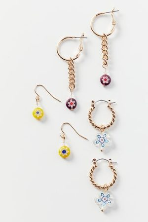 Urban Outfitters Glass Post And Hoop Earring Set