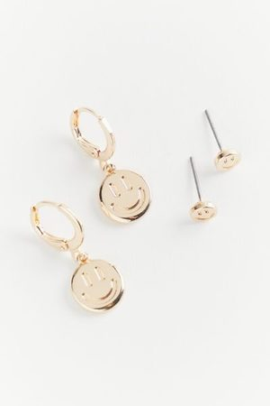 Urban Outfitters All Smiles Post And Hoop Earring Set