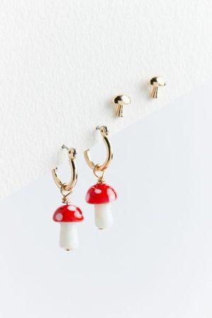 Urban Outfitters Mushroom Post And Hoop Earring Set