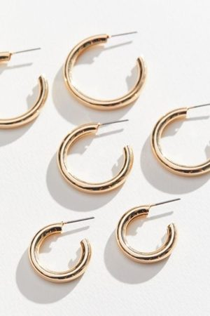 Urban Outfitters Hollow Hoop Earring Set