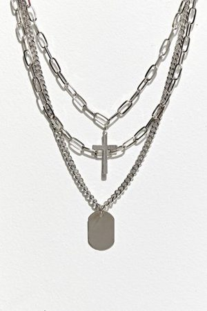 Urban Outfitters UO Cross Tag Layering Necklace