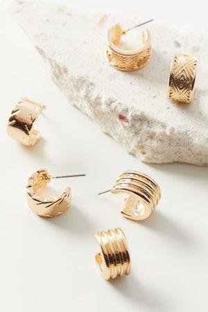 Urban Outfitters Textured Huggie Hoop Earring Set