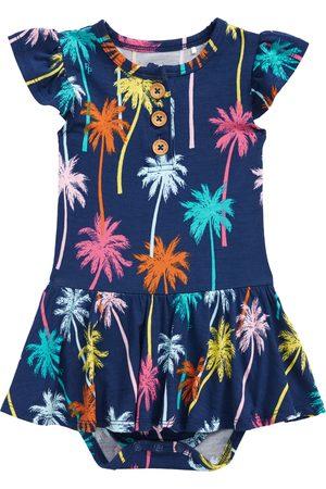 Posh Peanut Infant Girl's Palmer Palm Tree Ruffle Sleeve Skirted Bodysuit