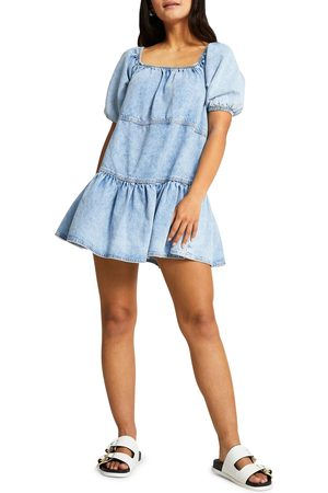 River Island Women's Tie Back Denim Babydoll Dress