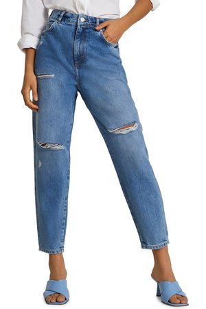 River Island Women's Jones High Waist Ripped Tapered Nonstretch Jeans