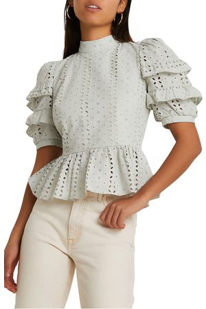 River Island Women's Open Back Embroidered Top