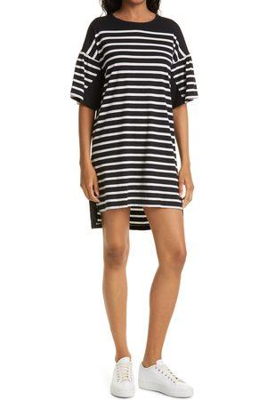La Ligne Women's Stripe Drop Shoulder Puff Sleeve Cotton Knit Dress