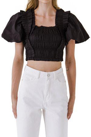 ENGLISH FACTORY Women's Shirred Bodice Puff Sleeve Cotton Crop Top