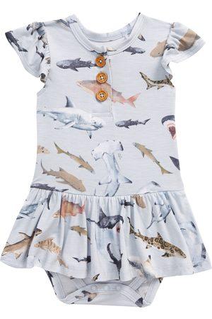 Posh Peanut Infant Girl's Maverick Shark Print Ruffle Sleeve Skirted Bodysuit