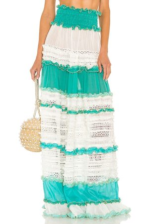 CHIO Tier Lace Maxi Skirt in Baby .