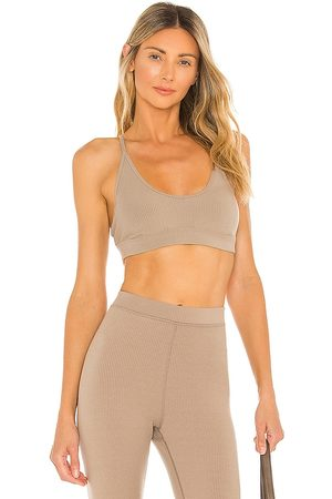 alo Blissful Bra in Taupe.