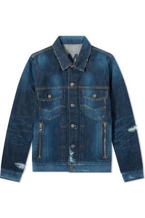 Balmain Men Denim Jackets - Distressed Denim Jacket