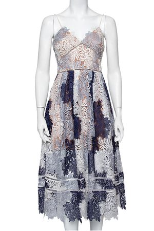 Self-Portrait Navy & White Lace Sleeveless Camellias Midi Dress M