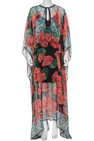 Dolce & Gabbana Anthurium Printed Silk Kaftan Maxi Dress L