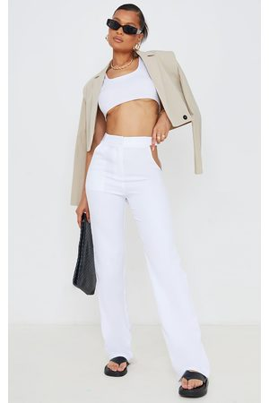 PRETTYLITTLETHING Woven Cut Out Waist Band Detail Straight Leg Pants