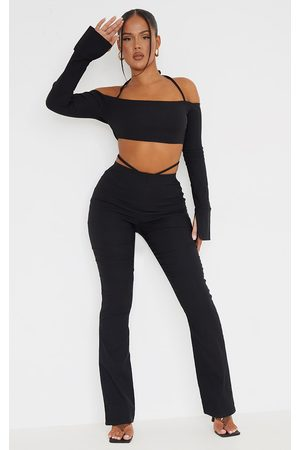 PrettyLittleThing Women Skinny Pants - Stretch Woven Cut Out Detail Skinny Flared Pants