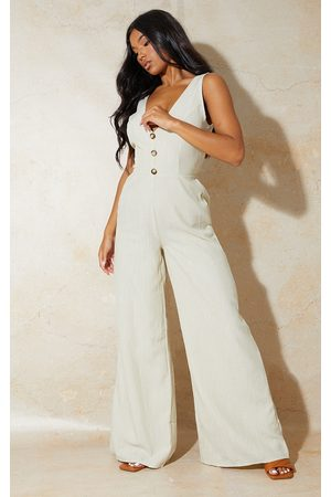 PRETTYLITTLETHING Stone Button Front Tie Back Jumpsuit