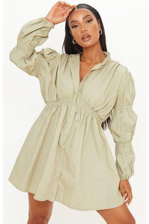 PRETTYLITTLETHING Sage Cotton Ruched Arm Detail Shirt Dress