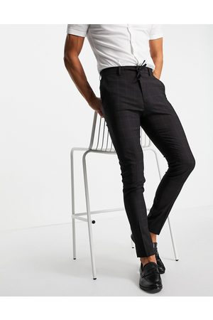 ASOS Smart pants with windowpane check in navy - part of a set