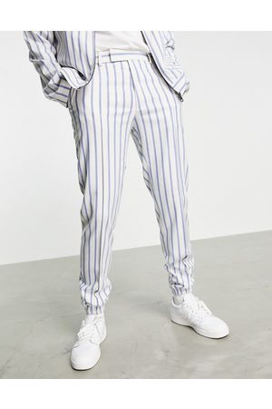 ASOS Set slim smart sweatpants in and blue stripe