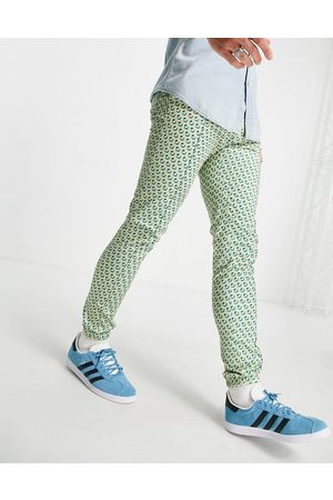 ASOS Set skinny smart sweatpants with pastel geo print-Blues