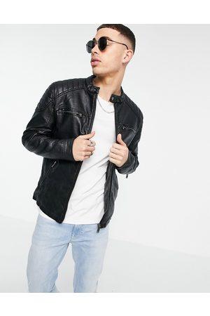 River Island Men Leather Jackets - Pu racer jacket in