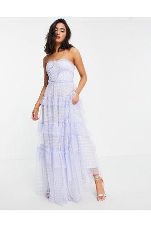 Needle & Thread Women Maxi Dresses - Caroline maxi dress with ruffles in blue gingham-Blues