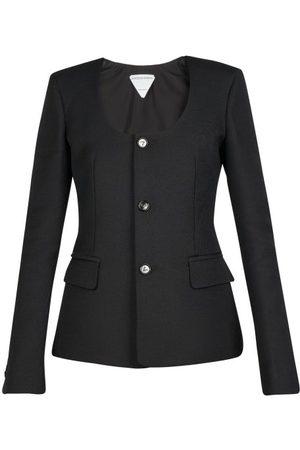 Bottega Veneta Women Jackets - Scoop-neck Grain-de-poudre Jacket - Womens