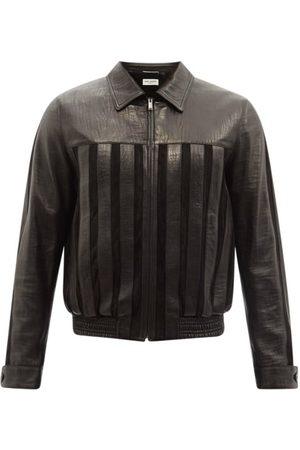 Saint Laurent Striped Leather Jacket - Mens