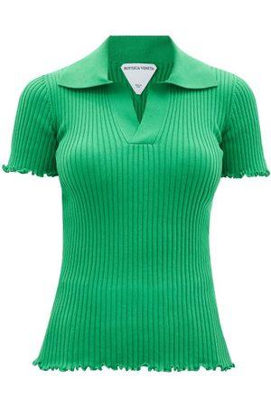 Bottega Veneta Women Polo Shirts - Open-collar Ribbed-cotton Polo Shirt - Womens