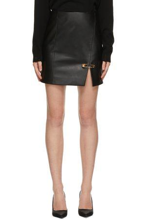 VERSACE Black Nappa Leather Miniskirt