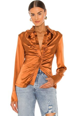 Kim Shui Silk Shirt in Metallic Bronze.