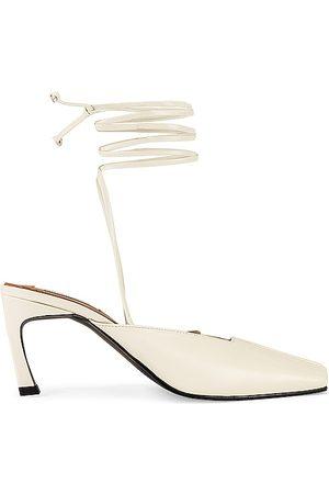 Reike Nen Piping Strap Heels in Ivory.