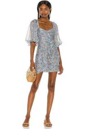 MINKPINK Dahlia Ruched Mini Dress in Blue.