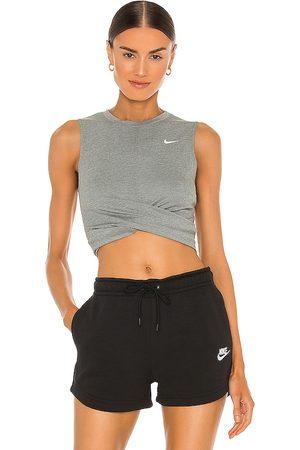Nike NK Dry Twist Crop Tank in Grey.