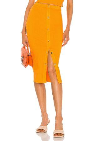 Enza Costa Rib Snap Midi Skirt in Orange.