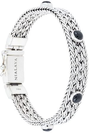 Nialaya Braided chain onyx bracelet