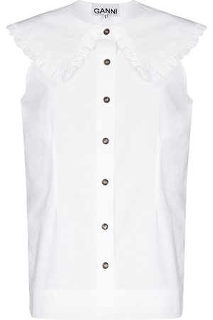Ganni Women Blouses - Ruched oversize collar blouse