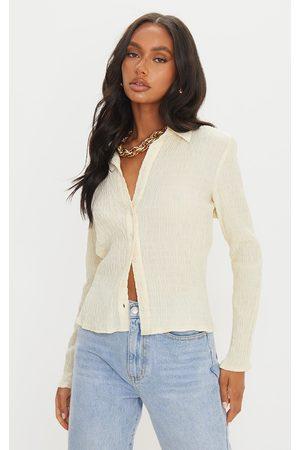 PRETTYLITTLETHING Stone Shirred Long Sleeve Shirt