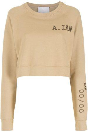 Andrea Bogosian Women Sweatshirts - Embroidered logo cropped sweatshirt - Neutrals