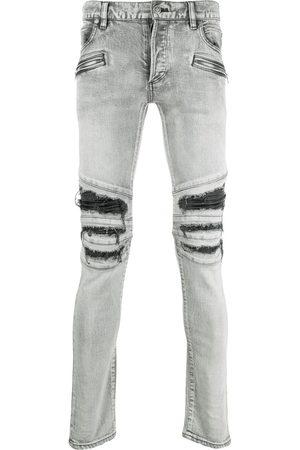 Balmain Ripped slim-cut jeans - Grey