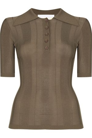 REMAIN Women Polo Shirts - Straight-point collar polo shirt - 19-0822 MILITARY OLIVE