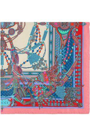 Gucci Tassel and chain-print scarf