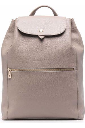 Longchamp Le Foulonné leather backpack - Neutrals