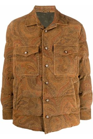 Etro Men Leather Jackets - Paisley-print leather down jacket - Neutrals