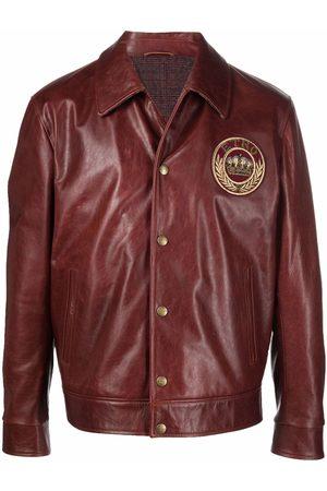 Etro Logo-patch leather jacket